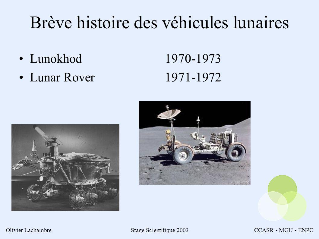 Olivier LachambreStage Scientifique 2003CCASR - MGU - ENPC Brève histoire des véhicules lunaires Lunokhod Lunar Rover 1970-1973 1971-1972