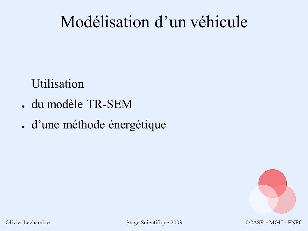 Olivier LachambreStage Scientifique 2003CCASR - MGU - ENPC Modélisation dun véhicule Utilisation du modèle TR-SEM dune méthode énergétique