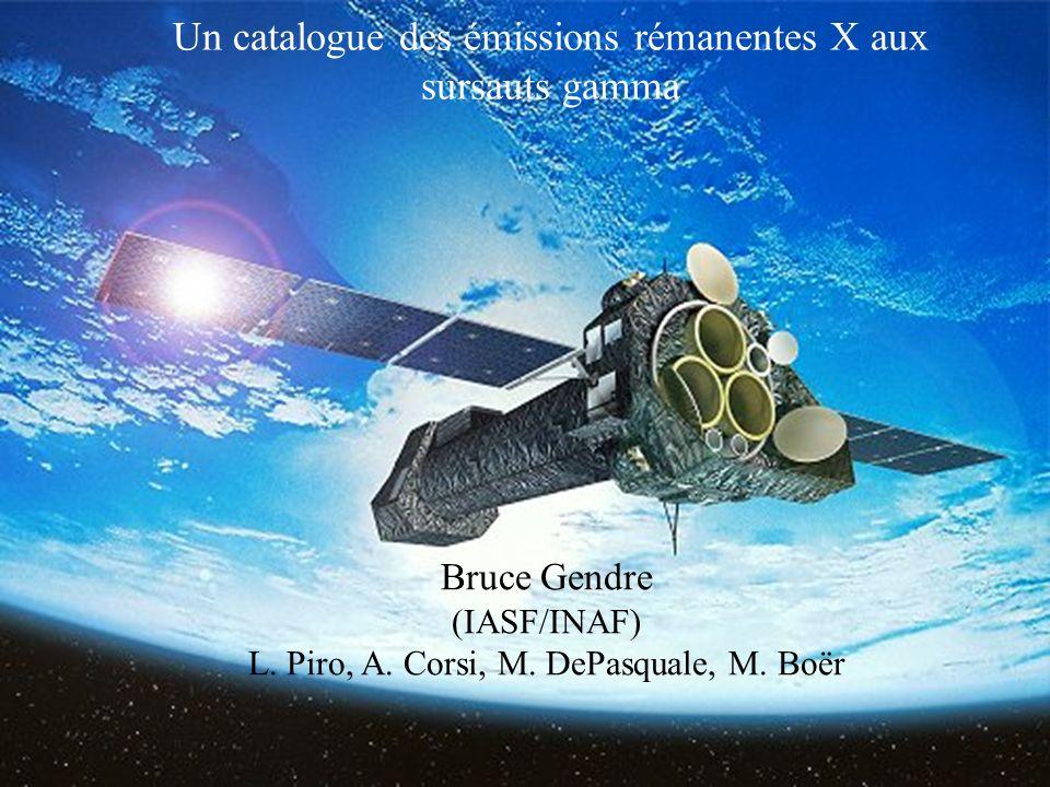 Un catalogue des émissions rémanentes X aux sursauts gamma Bruce Gendre (IASF/INAF) L.