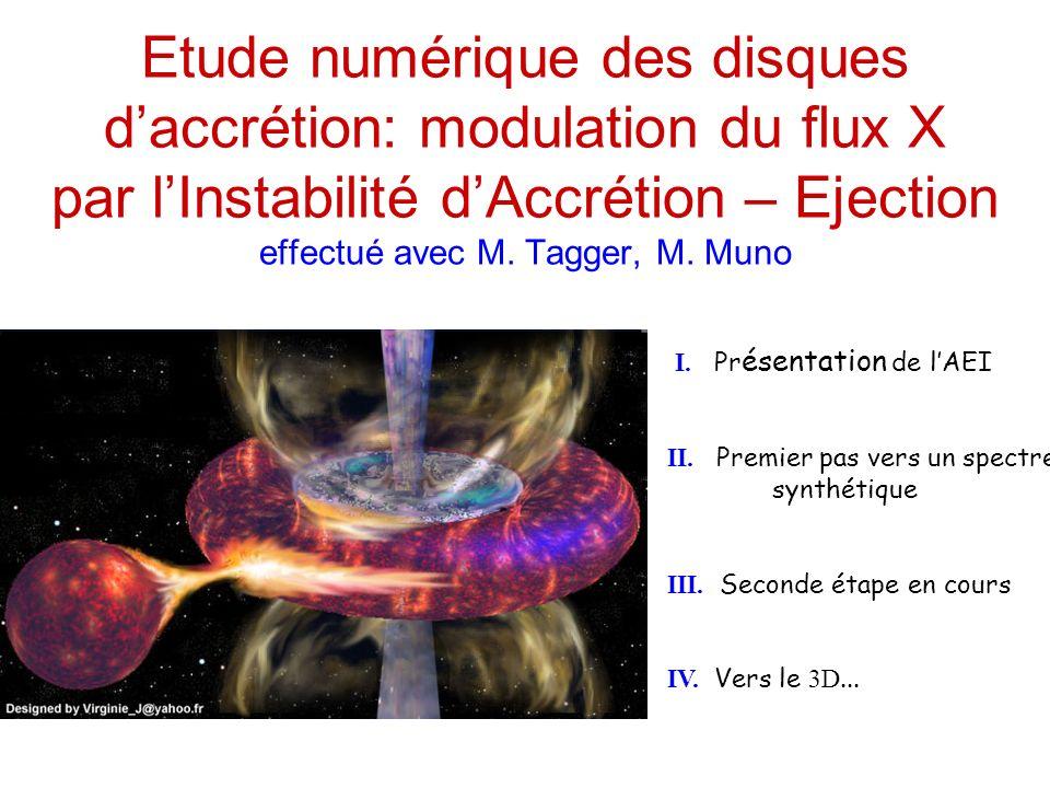 Etude numérique des disques daccrétion: modulation du flux X par lInstabilité dAccrétion – Ejection effectué avec M.