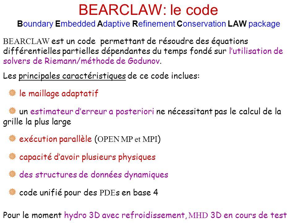 BEARCLAW: le code Boundary Embedded Adaptive Refinement Conservation LAW package BEARCLAW est un code permettant de résoudre des équations différentielles partielles dépendantes du temps fondé sur lutilisation de solvers de Riemann/méthode de Godunov.