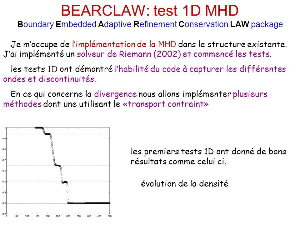 BEARCLAW: test 1D MHD Boundary Embedded Adaptive Refinement Conservation LAW package les premiers tests 1D ont donné de bons résultats comme celui ci.