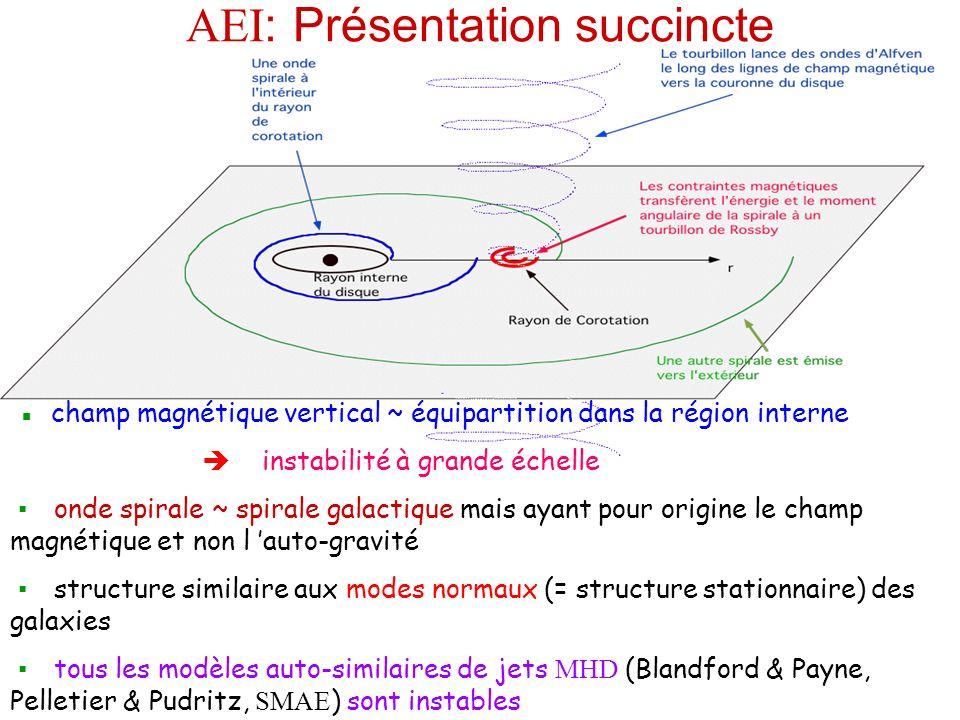 AEI : Présentation succincte champ magnétique vertical ~ équipartition dans la région interne instabilité à grande échelle onde spirale ~ spirale galactique mais ayant pour origine le champ magnétique et non l auto-gravité structure similaire aux modes normaux (= structure stationnaire) des galaxies tous les modèles auto-similaires de jets MHD (Blandford & Payne, Pelletier & Pudritz, SMAE ) sont instables