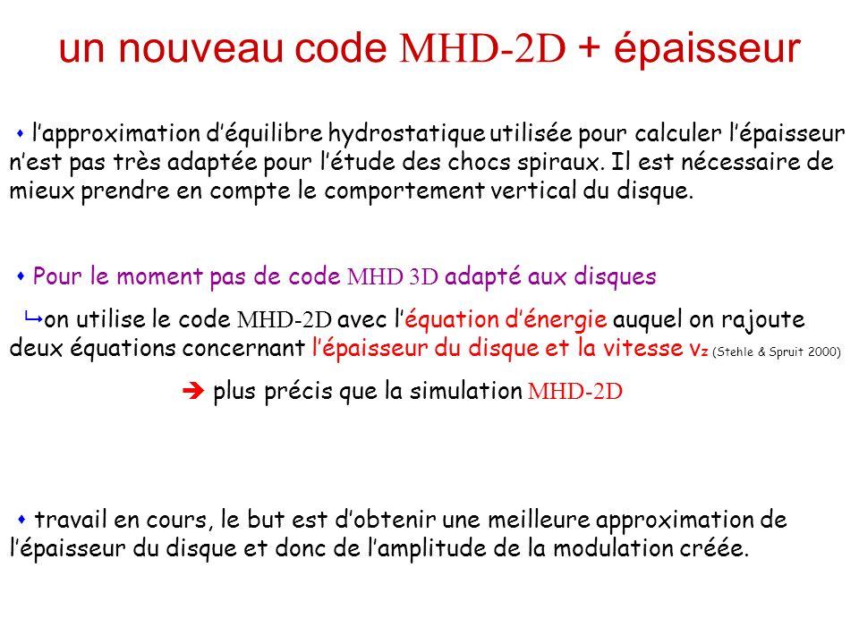 un nouveau code MHD-2D + épaisseur lapproximation déquilibre hydrostatique utilisée pour calculer lépaisseur nest pas très adaptée pour létude des chocs spiraux.