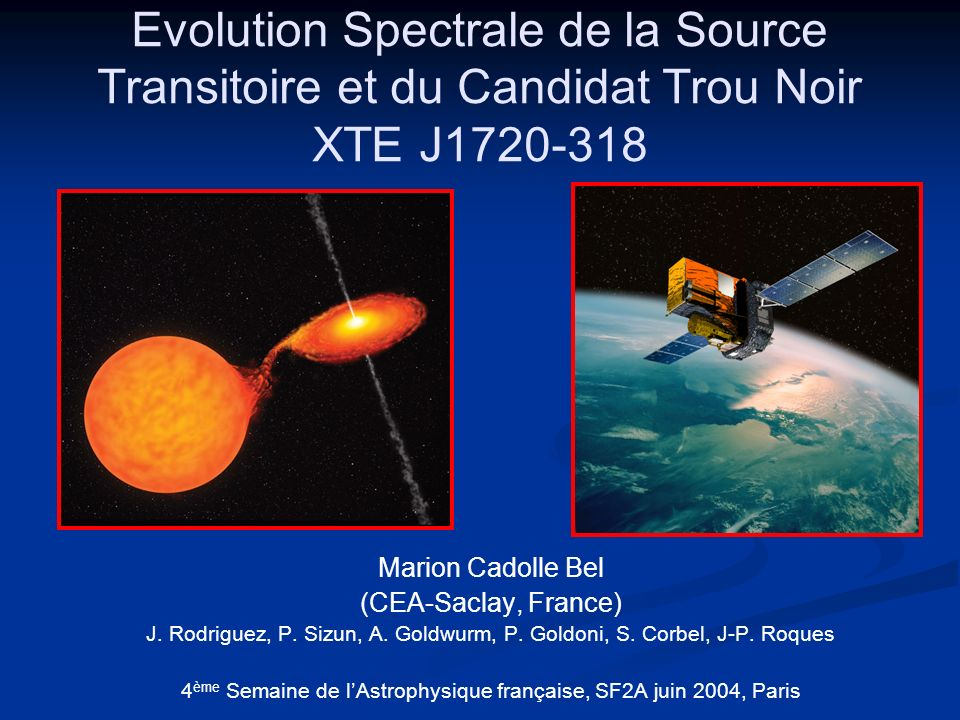 Evolution Spectrale de la Source Transitoire et du Candidat Trou Noir XTE J1720-318 Marion Cadolle Bel (CEA-Saclay, France) J. Rodriguez, P. Sizun, A.