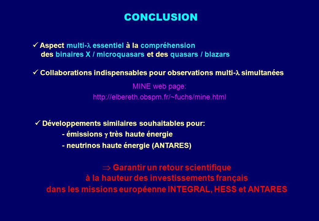 CONCLUSION Aspect multi- essentiel à la compréhension des binaires X / microquasars et des quasars / blazars Collaborations indispensables pour observ