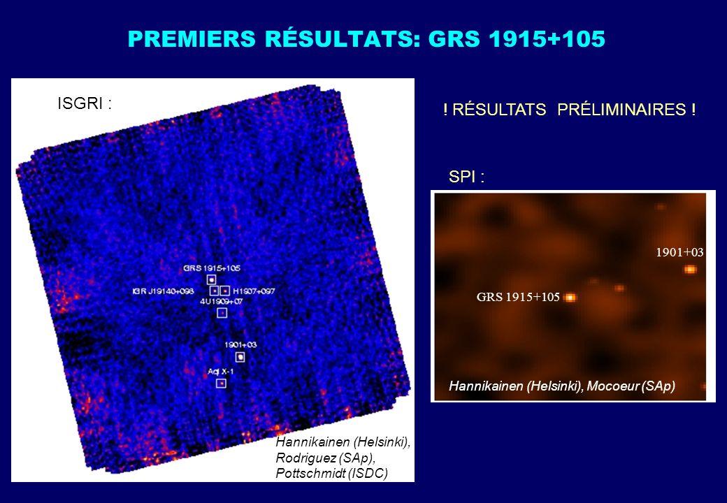 PREMIERS RÉSULTATS: GRS 1915+105 Hannikainen (Helsinki), Mocoeur (SAp) GRS 1915+105 1901+03 Hannikainen (Helsinki), Rodriguez (SAp), Pottschmidt (ISDC