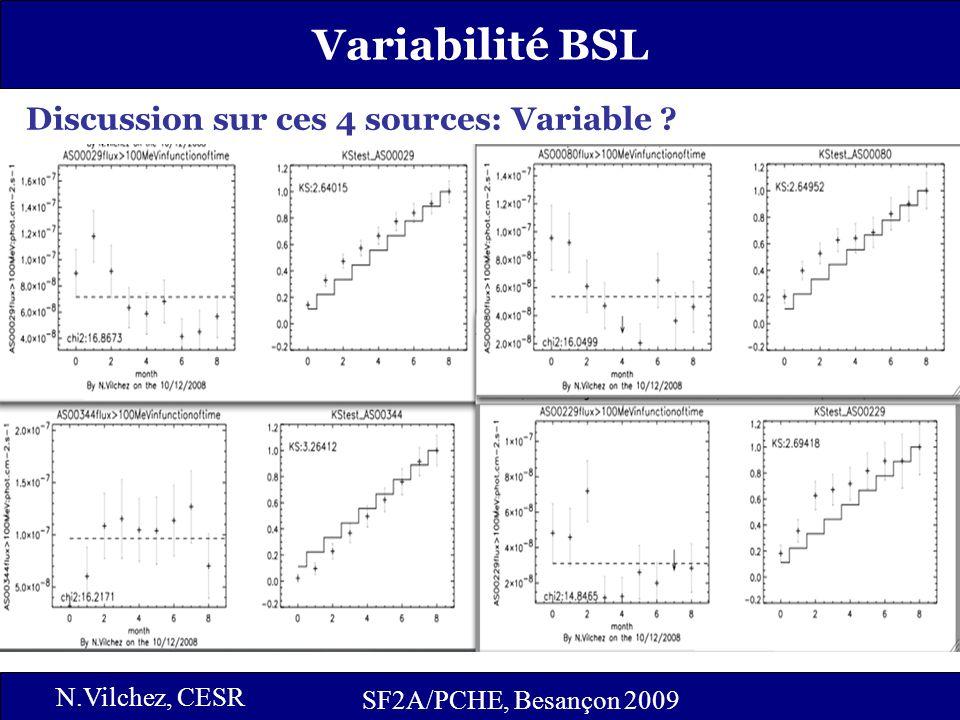 15 SF2A/PCHE, Besançon 2009 N.Vilchez, CESR Variabilité BSL Discussion sur ces 4 sources: Variable