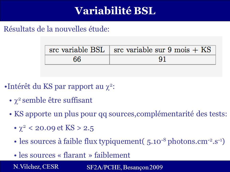 16 SF2A/PCHE, Besançon 2009 N.Vilchez, CESR Variabilité BSL Intérêt du KS par rapport au 2 : 2 semble être suffisant KS apporte un plus pour qq source
