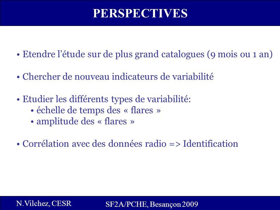 17 PERSPECTIVES SF2A/PCHE, Besançon 2009 N.Vilchez, CESR Etendre létude sur de plus grand catalogues (9 mois ou 1 an) Chercher de nouveau indicateurs