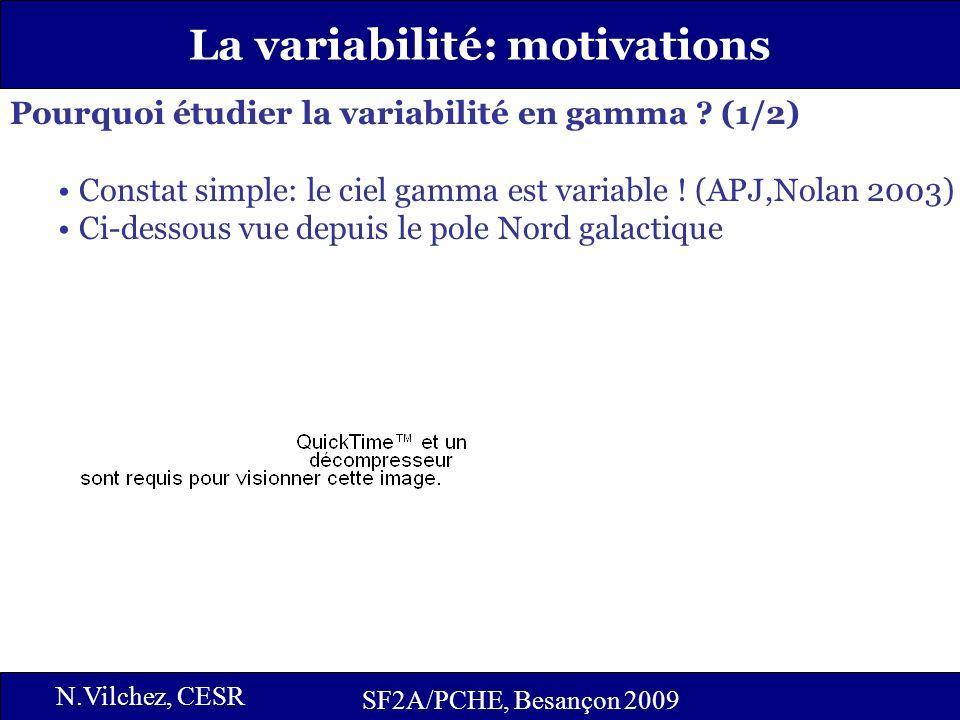 2 La variabilité: motivations SF2A/PCHE, Besançon 2009 N.Vilchez, CESR Pourquoi étudier la variabilité en gamma ? (1/2) Constat simple: le ciel gamma