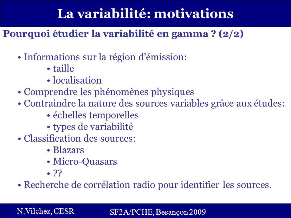 3 La variabilité: motivations SF2A/PCHE, Besançon 2009 N.Vilchez, CESR Pourquoi étudier la variabilité en gamma ? (2/2) Informations sur la région dém