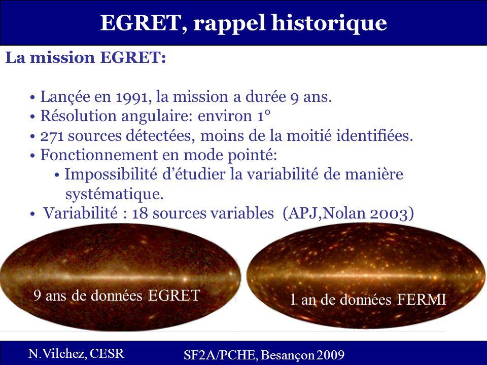 4 SF2A/PCHE, Besançon 2009 EGRET, rappel historique SF2A/PCHE, Besançon 2009 N.Vilchez, CESR La mission EGRET: Lançée en 1991, la mission a durée 9 ans.