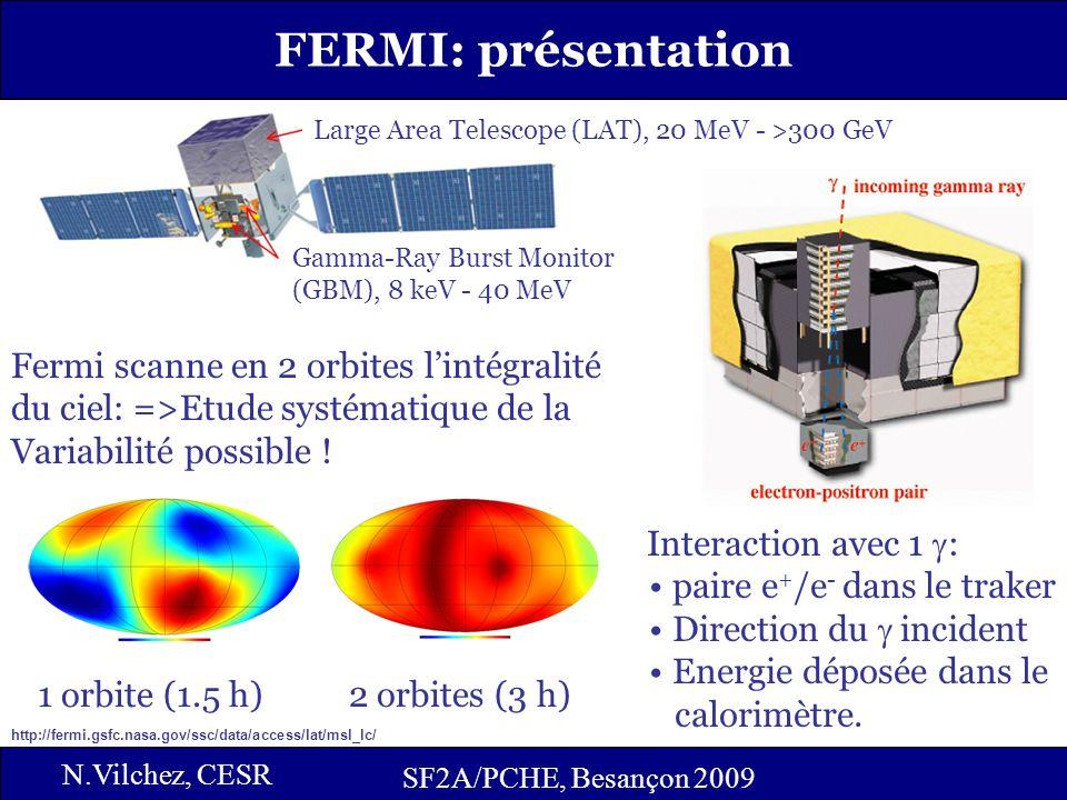 5 SF2A/PCHE, Besançon 2009 FERMI: présentation SF2A/PCHE, Besançon 2009 N.Vilchez, CESR Gamma-Ray Burst Monitor (GBM), 8 keV - 40 MeV Large Area Telescope (LAT), 20 MeV - >300 GeV 1 orbite (1.5 h) 2 orbites (3 h) Fermi scanne en 2 orbites lintégralité du ciel: =>Etude systématique de la Variabilité possible .