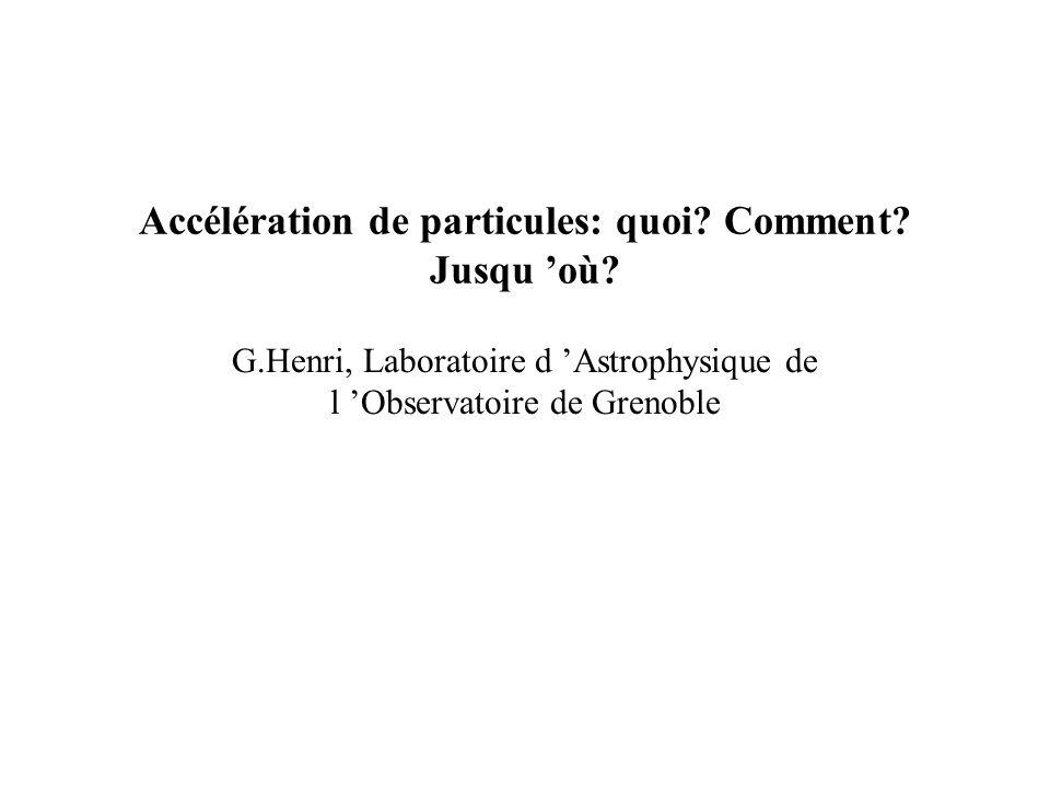 Accélération de particules: quoi. Comment. Jusqu où.