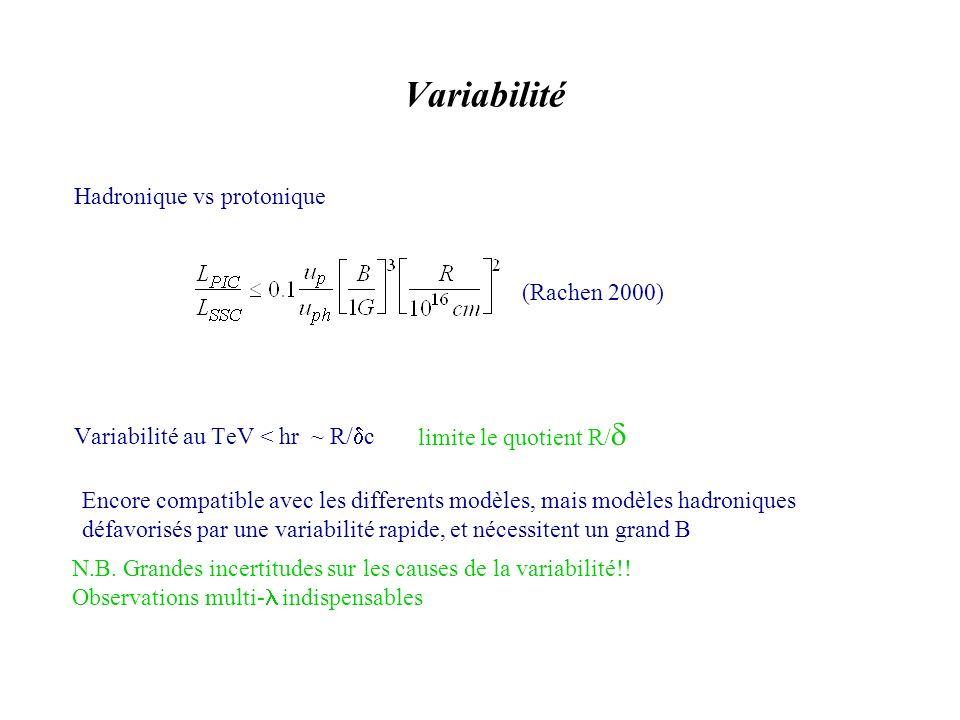 Variabilité Variabilité au TeV < hr ~ R/ c limite le quotient R/ Hadronique vs protonique (Rachen 2000) Encore compatible avec les differents modèles, mais modèles hadroniques défavorisés par une variabilité rapide, et nécessitent un grand B N.B.