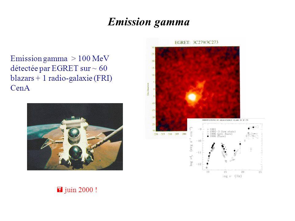 Emission gamma Emission gamma > 100 MeV détectée par EGRET sur ~ 60 blazars + 1 radio-galaxie (FRI) CenA = juin 2000 !