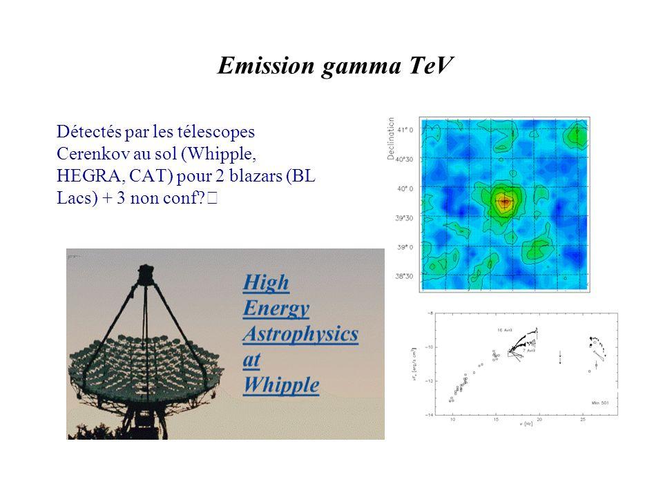 Détectés par les télescopes Cerenkov au sol (Whipple, HEGRA, CAT) pour 2 blazars (BL Lacs) + 3 non conf.