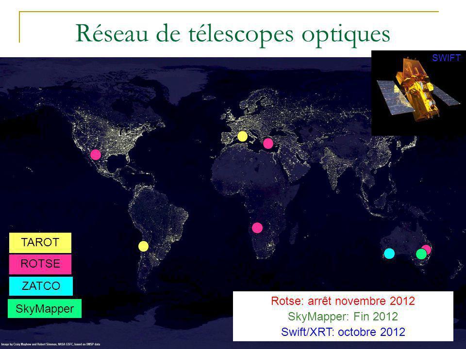D. Dornic – Reunion de la SF2A – Marseille 2010 Réseau de télescopes optiques TAROT ROTSE ZATCO Rotse: arrêt novembre 2012 SkyMapper: Fin 2012 Swift/X