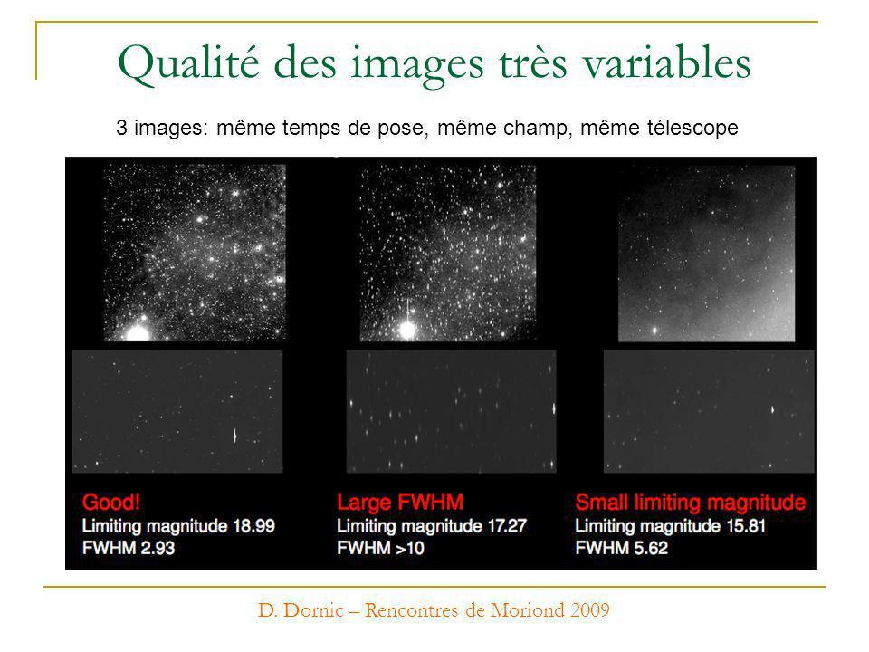 D. Dornic – Rencontres de Moriond 2009 Qualité des images très variables 3 images: même temps de pose, même champ, même télescope