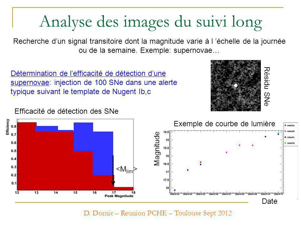 Analyse des images du suivi long Recherche dun signal transitoire dont la magnitude varie à l échelle de la journée ou de la semaine. Exemple: superno