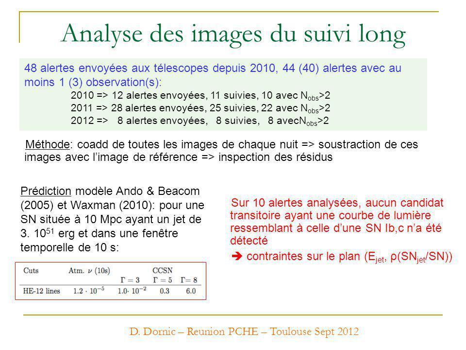 Analyse des images du suivi long 48 alertes envoyées aux télescopes depuis 2010, 44 (40) alertes avec au moins 1 (3) observation(s): 2010 => 12 alerte
