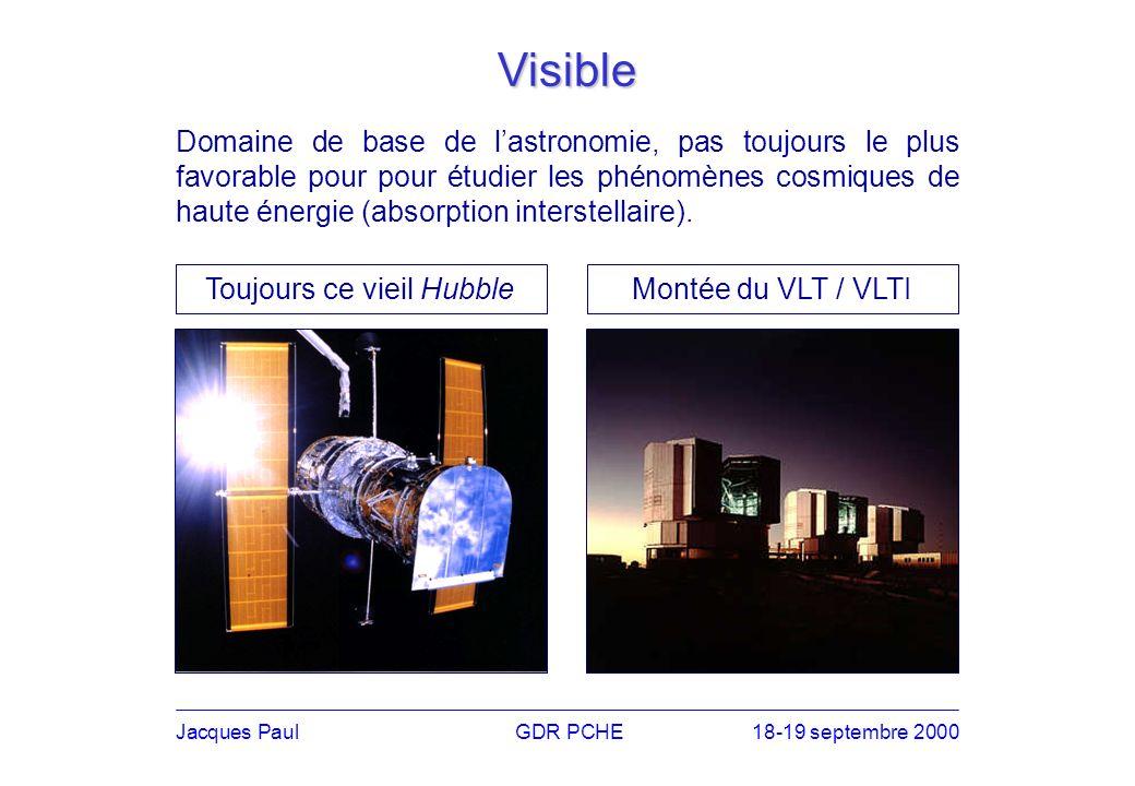 Jacques PaulGDR PCHE18-19 septembre 2000 Visible Domaine de base de lastronomie, pas toujours le plus favorable pour pour étudier les phénomènes cosmiques de haute énergie (absorption interstellaire).