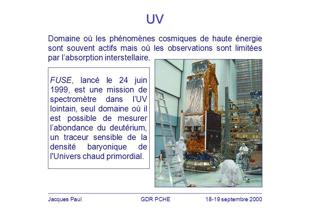 Jacques PaulGDR PCHE18-19 septembre 2000 UV FUSE, lancé le 24 juin 1999, est une mission de spectromètre dans lUV lointain, seul domaine où il est possible de mesurer labondance du deutérium, un traceur sensible de la densité baryonique de l Univers chaud primordial.