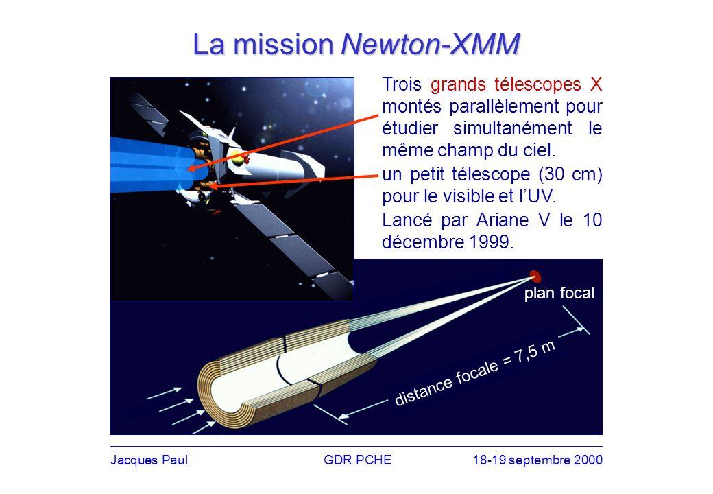 Trois grands télescopes X montés parallèlement pour étudier simultanément le même champ du ciel.