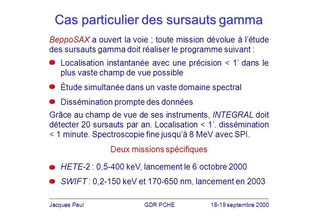 Cas particulier des sursauts gamma BeppoSAX a ouvert la voie ; toute mission dévolue à létude des sursauts gamma doit réaliser le programme suivant : HETE-2 : 0,5-400 keV, lancement le 6 octobre 2000 SWIFT : 0,2-150 keV et 170-650 nm, lancement en 2003 Jacques PaulGDR PCHE18-19 septembre 2000 Grâce au champ de vue de ses instruments, INTEGRAL doit détecter 20 sursauts par an.