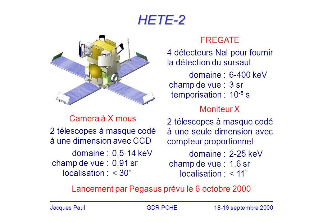 HETE-2 FREGATE 4 détecteurs NaI pour fournir la détection du sursaut.
