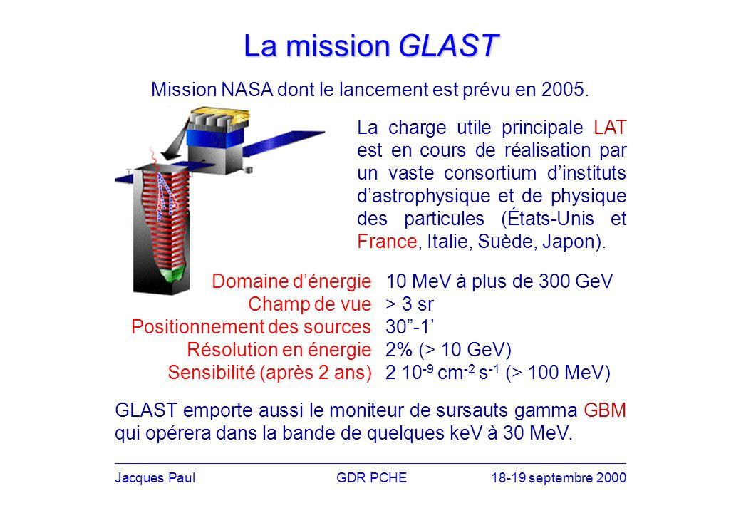 La mission GLAST Jacques PaulGDR PCHE18-19 septembre 2000 La charge utile principale LAT est en cours de réalisation par un vaste consortium dinstituts dastrophysique et de physique des particules (États-Unis et France, Italie, Suède, Japon).