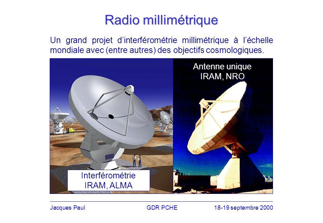 Jacques PaulGDR PCHE18-19 septembre 2000 Submillimétrique Le domaine de prédilection de la cosmologie, avec une foule de projets ambitieux, au sol, en ballon et dans lespace.