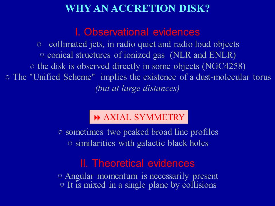 WHY AN ACCRETION DISK? I. Observational evidences R collimated jets, in radio quiet and radio loud objects R conical structures of ionized gas (NLR an