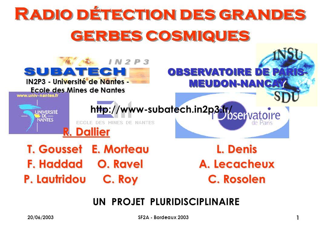 20/06/2003SF2A - Bordeaux 2003 1T. GoussetF. Haddad P. Lautridou E. MorteauO. RavelC. Roy IN2P3 - Université de Nantes - Ecole des Mines de Nantes OBS