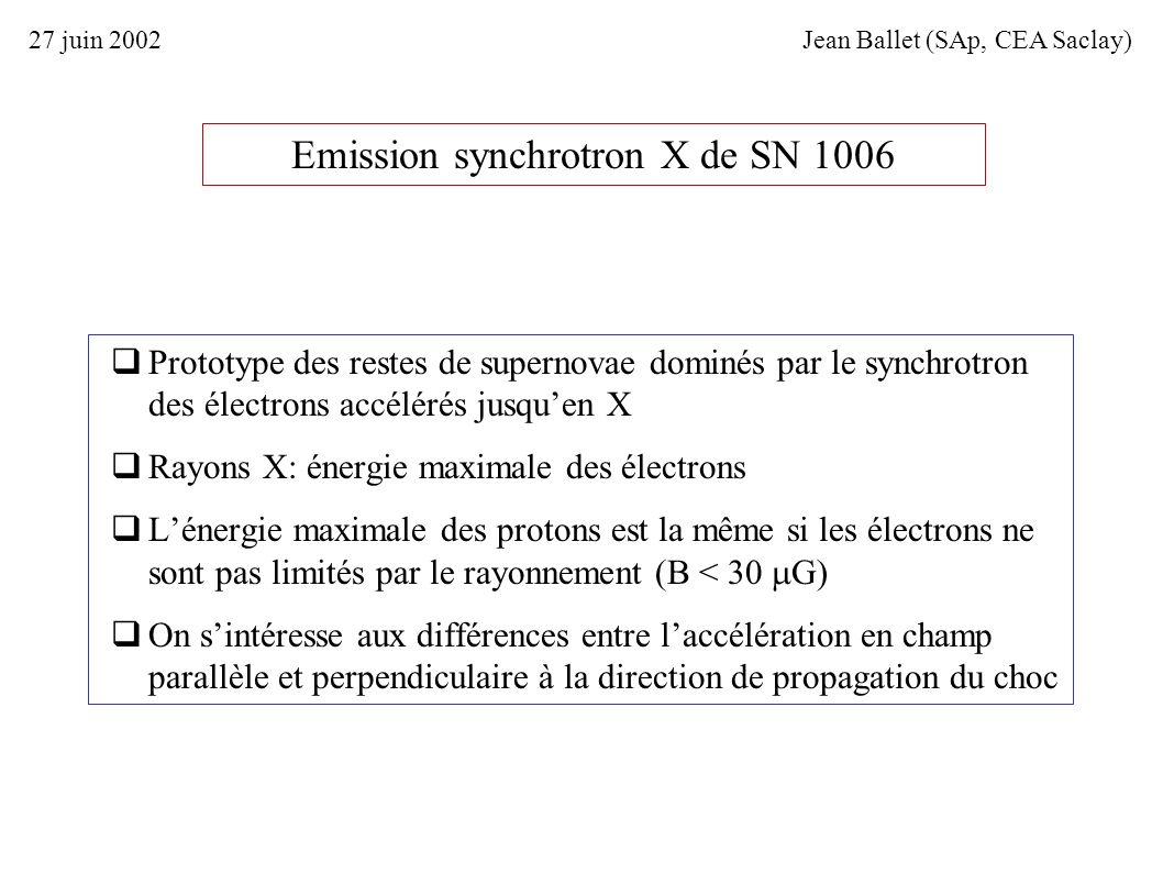 Emission synchrotron X de SN 1006 Prototype des restes de supernovae dominés par le synchrotron des électrons accélérés jusquen X Rayons X: énergie ma