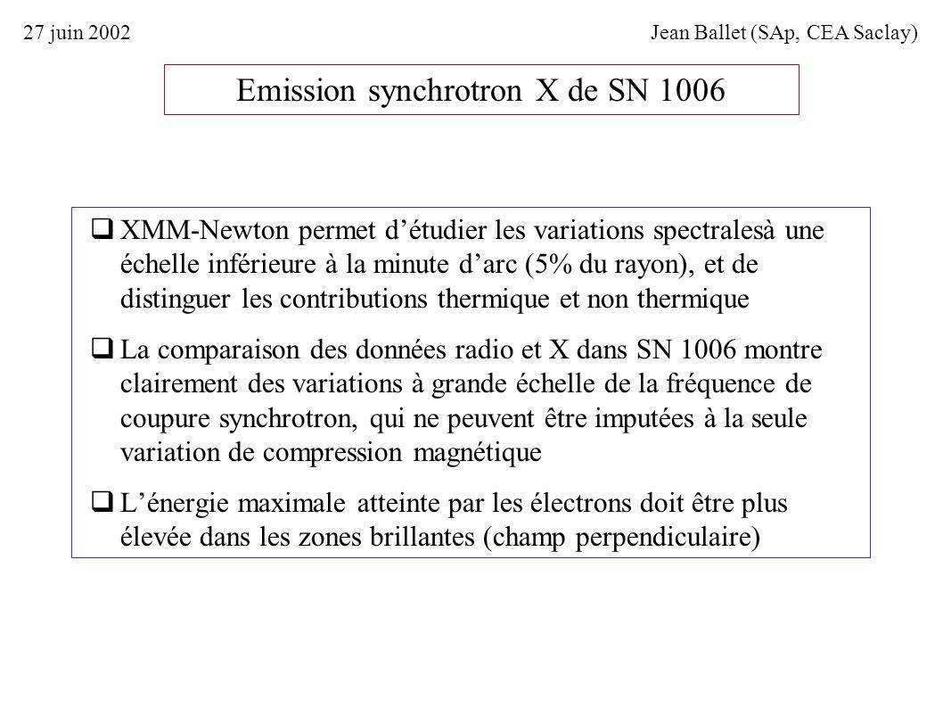 Emission synchrotron X de SN 1006 XMM-Newton permet détudier les variations spectralesà une échelle inférieure à la minute darc (5% du rayon), et de d