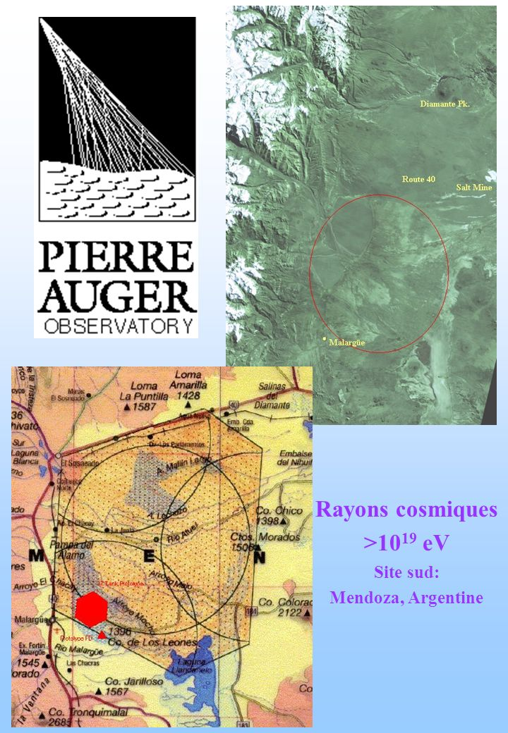 Rayons cosmiques >10 19 eV Site sud: Mendoza, Argentine