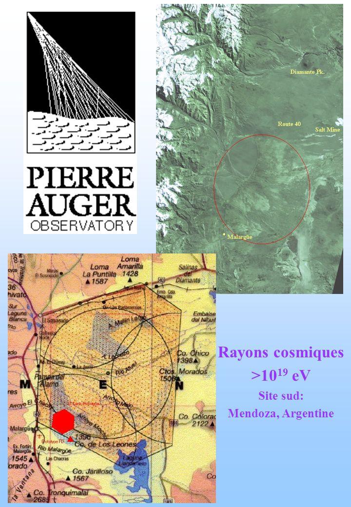 Rayons cosmiques >10 19 eV Site sud: Mendoza, Argentine
