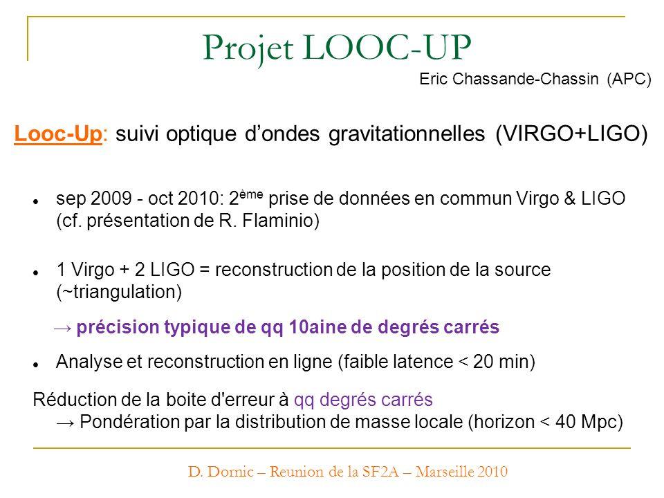D. Dornic – Reunion de la SF2A – Marseille 2010 Projet LOOC-UP Looc-Up: suivi optique dondes gravitationnelles (VIRGO+LIGO) Eric Chassande-Chassin (AP