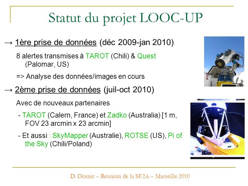 D. Dornic – Reunion de la SF2A – Marseille 2010 Statut du projet LOOC-UP 1ère prise de données (déc 2009-jan 2010) 8 alertes transmises à TAROT (Chili