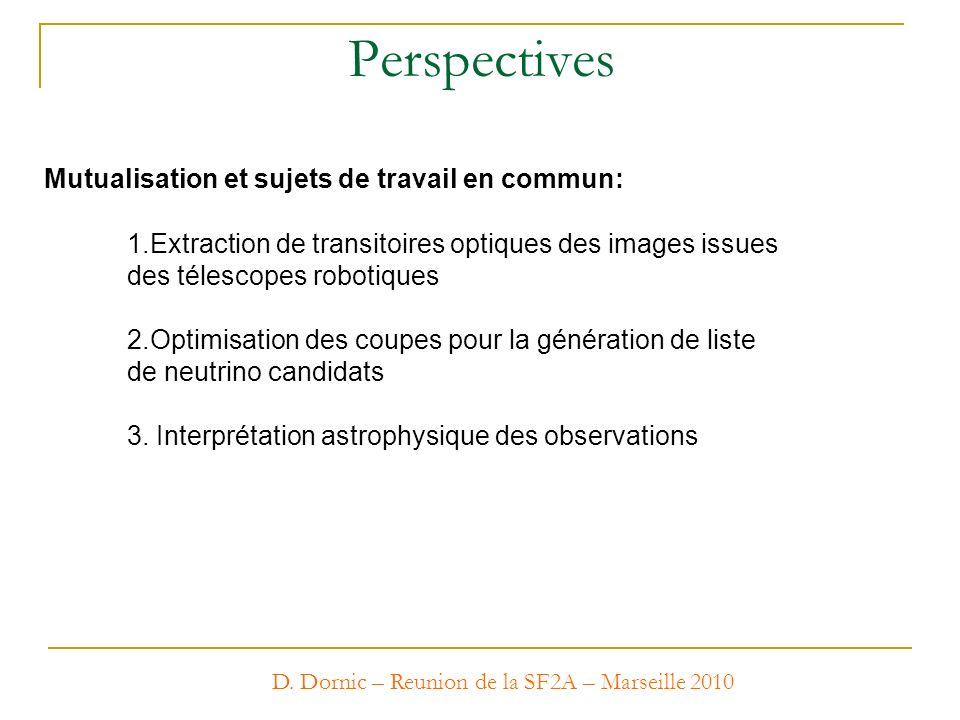 D. Dornic – Reunion de la SF2A – Marseille 2010 Perspectives Mutualisation et sujets de travail en commun: 1.Extraction de transitoires optiques des i