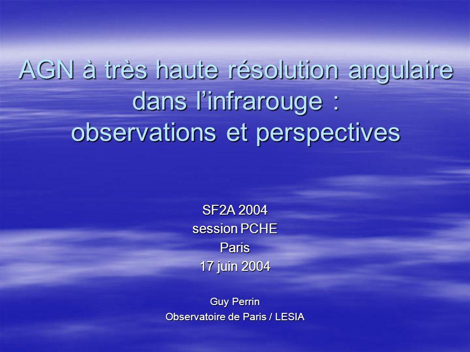 AGN à très haute résolution angulaire dans linfrarouge : observations et perspectives SF2A 2004 session PCHE Paris 17 juin 2004 Guy Perrin Observatoire de Paris / LESIA