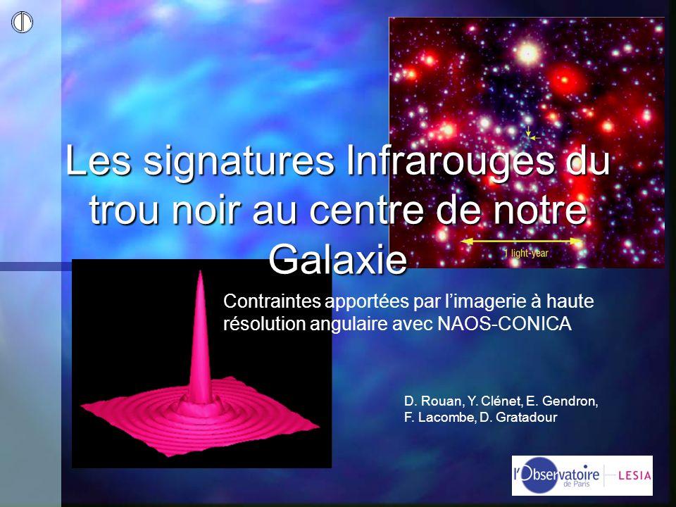 Les signatures Infrarouges du trou noir au centre de notre Galaxie D. Rouan, Y. Clénet, E. Gendron, F. Lacombe, D. Gratadour Contraintes apportées par