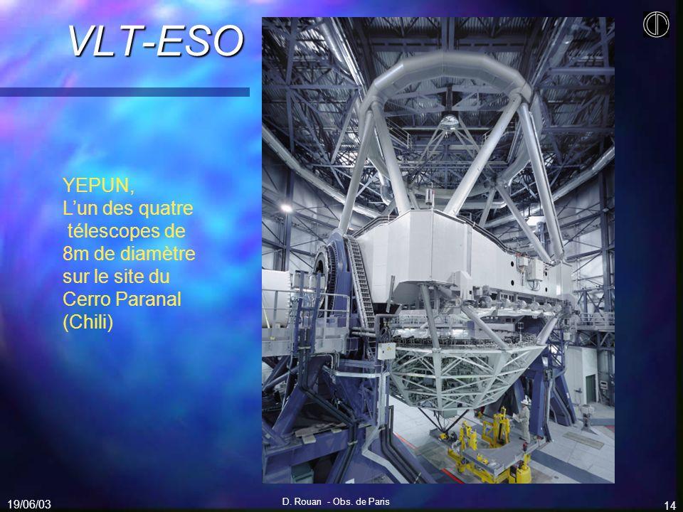 19/06/03 D. Rouan - Obs. de Paris 14 VLT-ESO YEPUN, Lun des quatre télescopes de 8m de diamètre sur le site du Cerro Paranal (Chili)