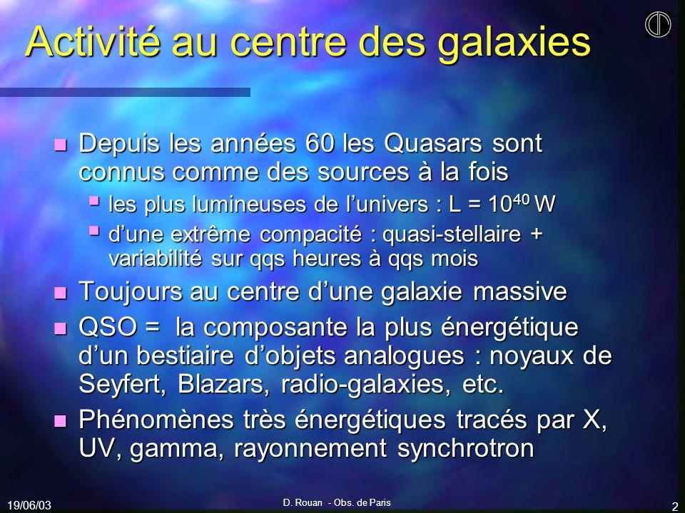 19/06/03 D. Rouan - Obs. de Paris 2 Activité au centre des galaxies n Depuis les années 60 les Quasars sont connus comme des sources à la fois les plu