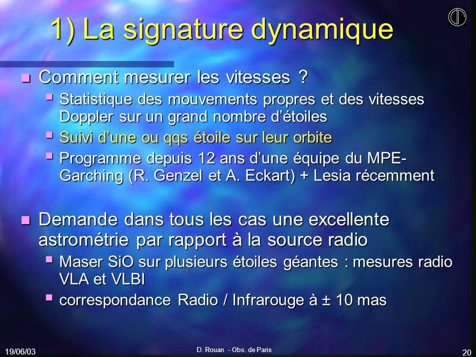 19/06/03 D. Rouan - Obs. de Paris 20 1) La signature dynamique n Comment mesurer les vitesses ? Statistique des mouvements propres et des vitesses Dop