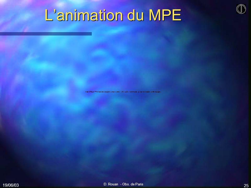 19/06/03 D. Rouan - Obs. de Paris 25 Lanimation du MPE