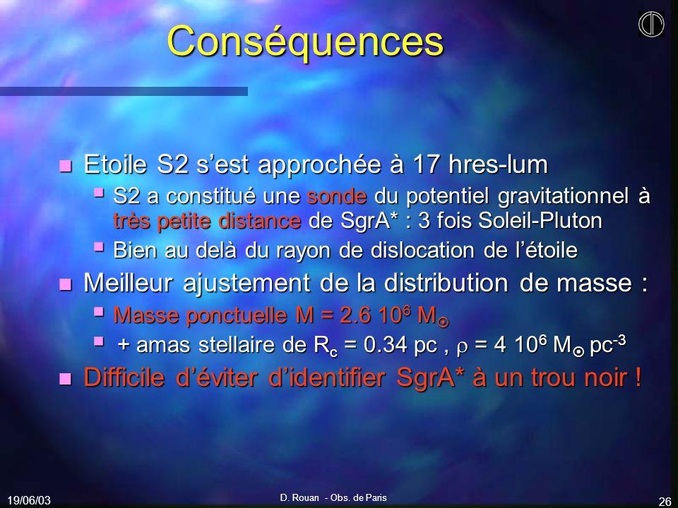19/06/03 D. Rouan - Obs. de Paris 26 Conséquences n Etoile S2 sest approchée à 17 hres-lum S2 a constitué une sonde du potentiel gravitationnel à très