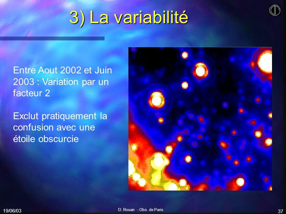 19/06/03 D. Rouan - Obs. de Paris 37 3) La variabilité Entre Aout 2002 et Juin 2003 : Variation par un facteur 2 Exclut pratiquement la confusion avec